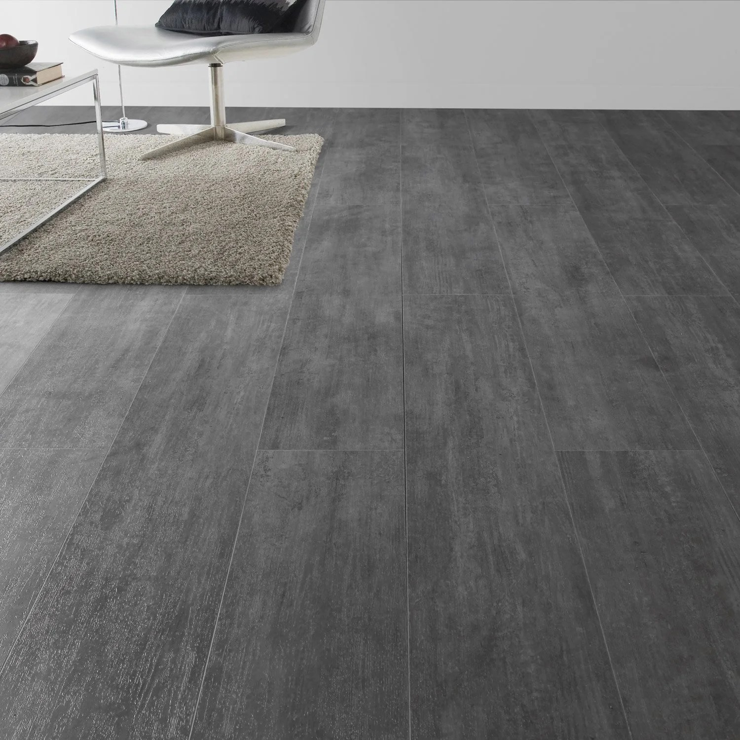 Dalle De Ciment Pour Terrasse Lame Pvc Clipsable Gris Nolita Grey Senso Lock + Gerflor