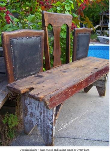 Diy recycler ses vieilles chaises en bancs - Fabriquer un banc de jardin en bois ...