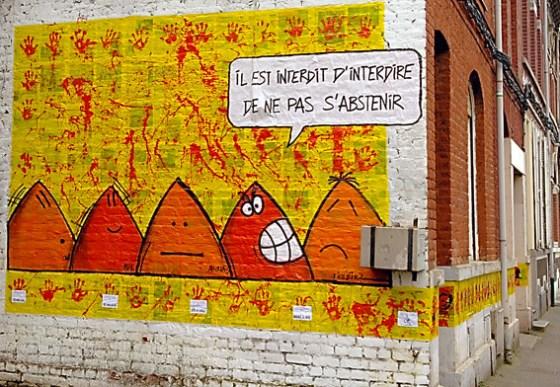 notre mur peint : Il est interdit d'interdire de ne pas s'abstenir