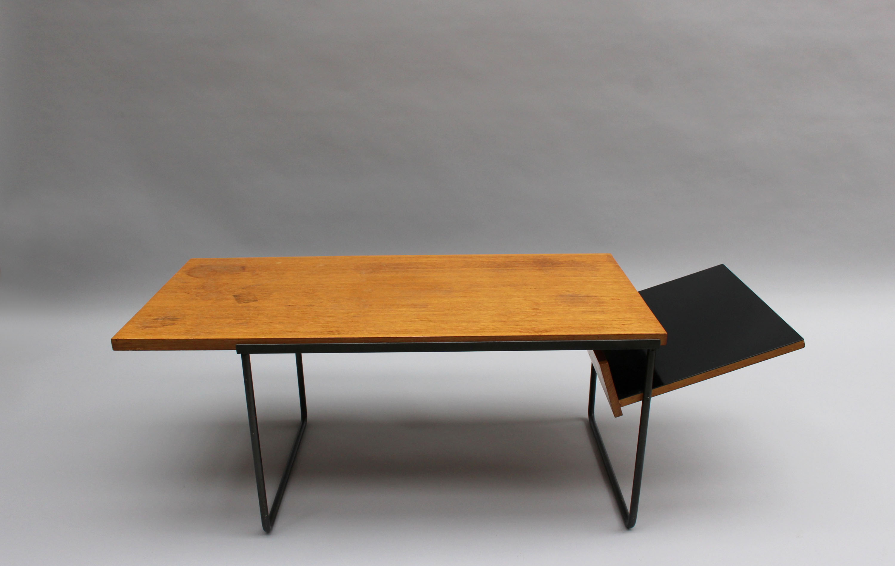 Table Basse En Metal French Midcentury Oak And Laminate Coffee Magazine Table With A Metal Base