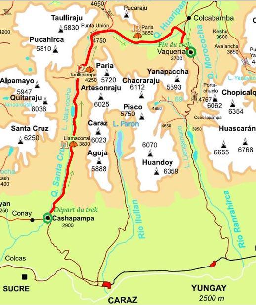 Carte du trek de Santa Cruz (chemin en rouge)