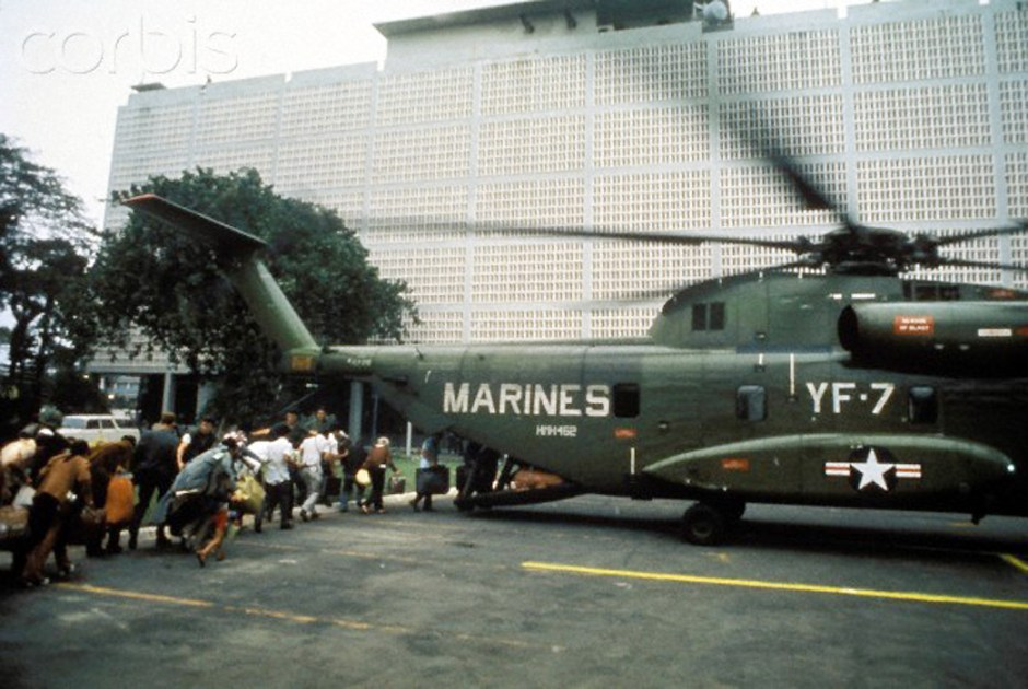 Boarding helicopter inside US Embassy , Fall of Saigon, Vietnam, 1975             m War, 1975