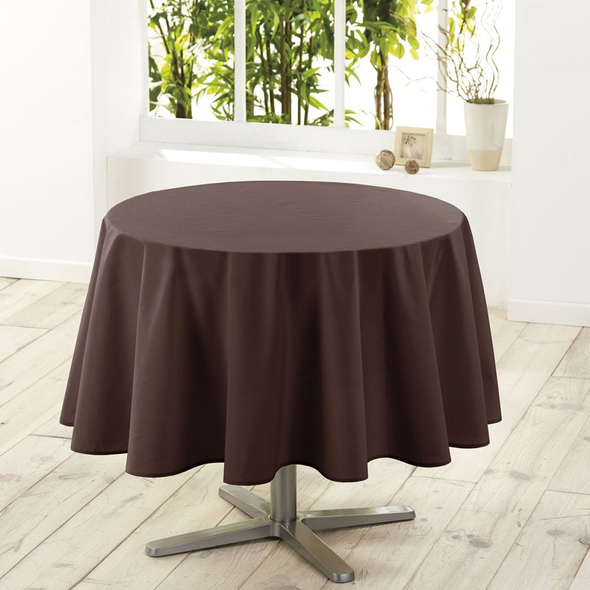 Nappe De Table Ronde Nappe De Table Ronde Ø180cm Essentiel Brun Antitache
