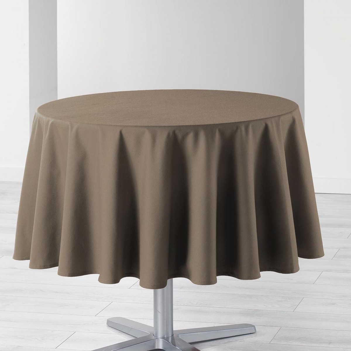 Nappe De Table Ronde Nappe De Table Ronde Ø180cm Essentiel Taupe Antitache