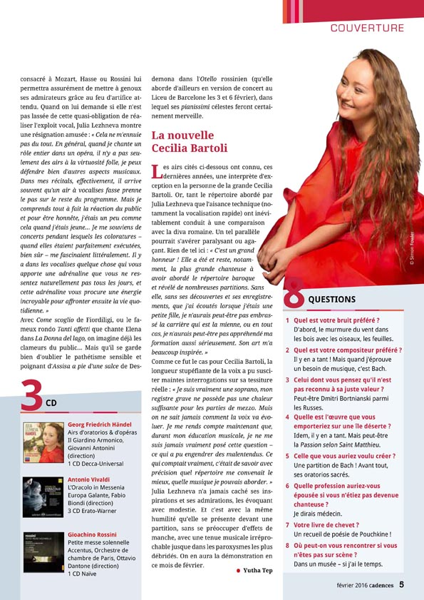 Annonce du récital de Julia Lezhneva le 19 février 2016 au Théâtre des Champs-Elysées dans le numéro de février du magazine Cadences.