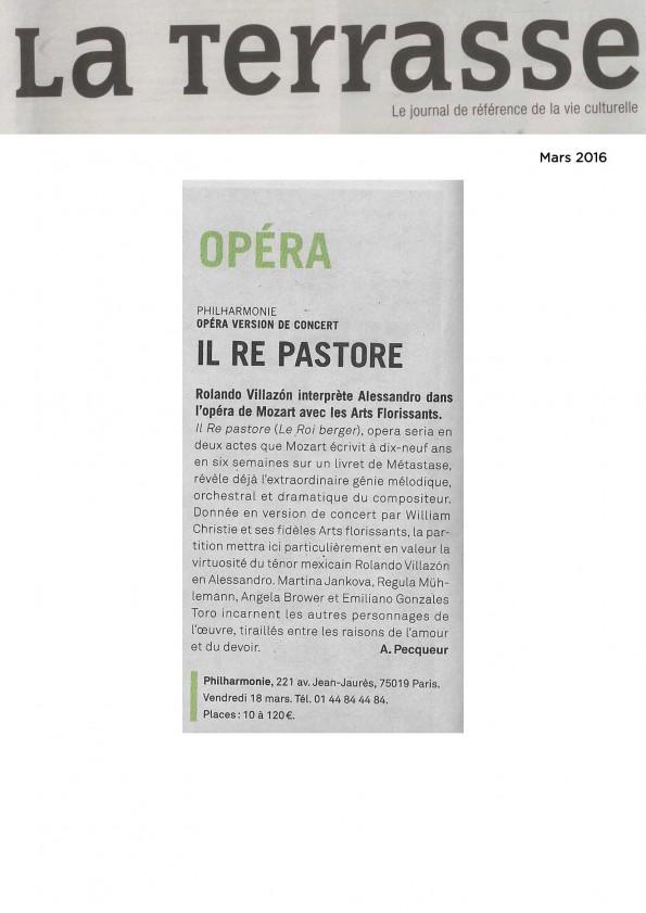 Annonce de la version de concert d'Il re pastore le 18 mars 2016 à la Philharmonie de Paris dans le numéro de mars de La Terrasse