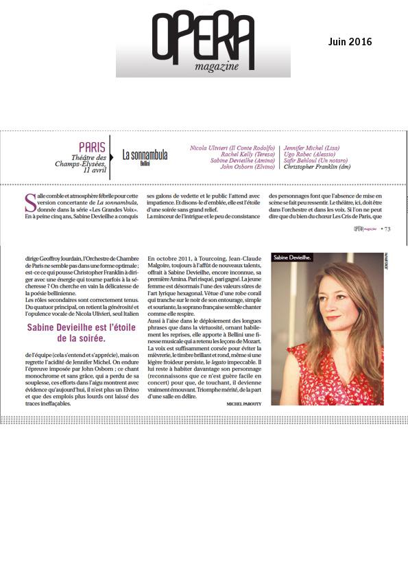 Compte-rendu de La Sonnambula dans le numéro de juin 2016 d'Opéra Magazine