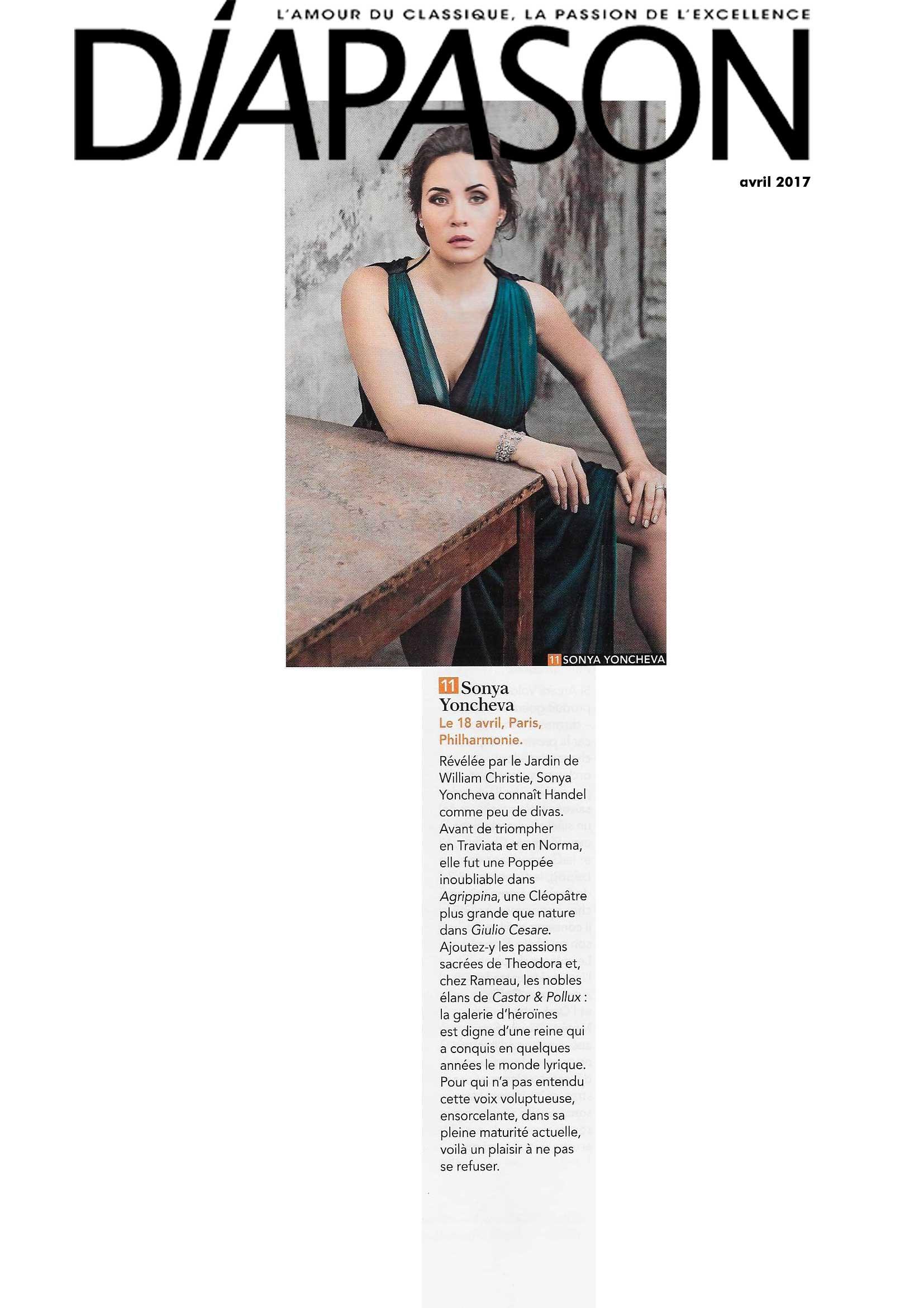 Annonce du récital de Sonya Yoncheva le 18 avril 2017 à la Philharmonie de Paris dans le numéro de Diapason d'avril 2017.
