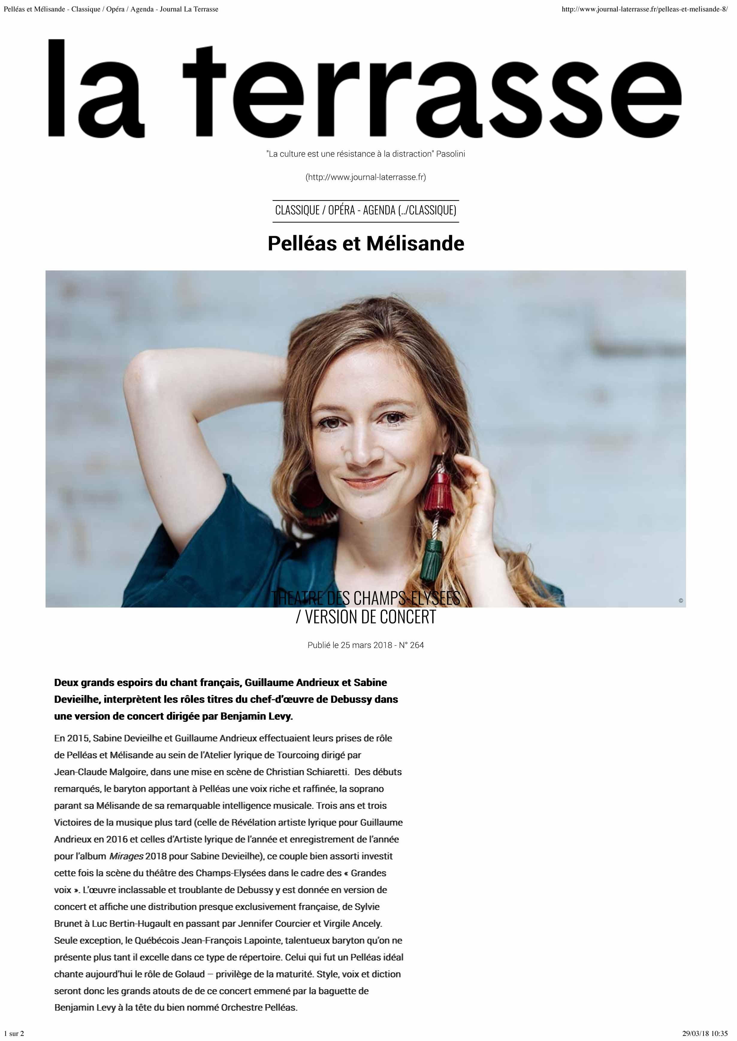 Annonce de la version de concert de Pelléas et Mélisande dans le numéro d'avril 2018 de La Terrasse