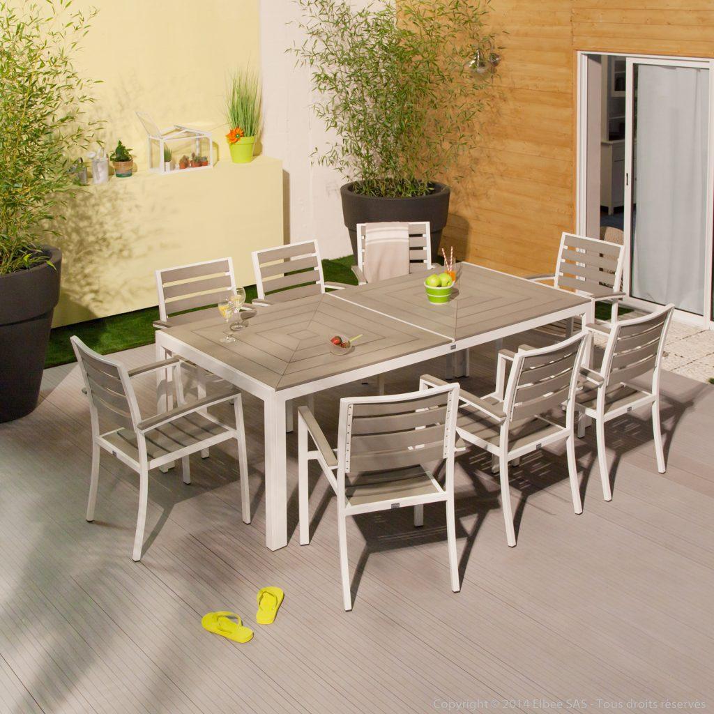 Salon De Jardin Alu Composite | Table De Jardin Aluminium 12 ...