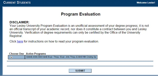 Program Evaluation (Degree Audit) - Graduate and Online Students - Program Evaluation