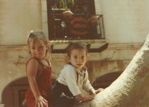 Amaree and Marissa on a tree at Tlaquepaque Shopping Center in Sedona 1982