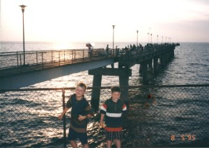 Solomon and Seth at the Sea Gull Fishing Pier on the northernmost man-made island of the Chesapeake Bay Bridge-Tunnel August 1995
