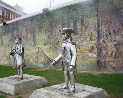 Portion of Dafford mural with sculptures of Chief Cornstalk and Colonel Andrew Lewis