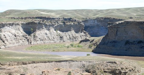 Two Medicine River forms a small canyon north of Valier, Montana