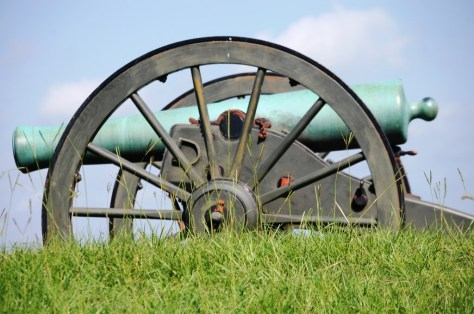 A lonely cannon sits on a hill at Vicksburg