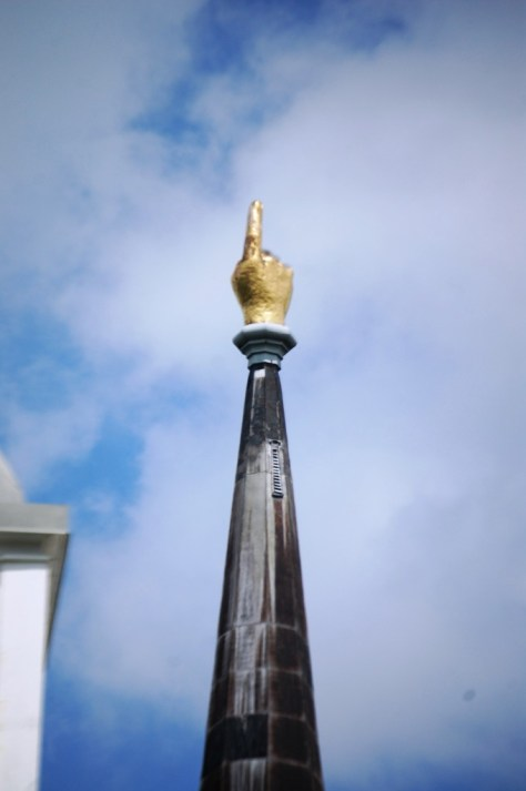 "Close up of Port Gibson's First Presbyterian Church's ""Hand Pointing to Heaven"" steeple"
