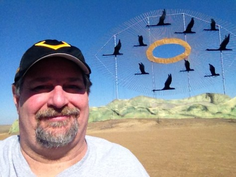 """Sumoflam at the """"Geese in Flight"""" Scrap Metal Sculpture, the world's largest"""