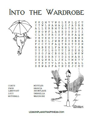LWW) Into the Wardrobe Wordsearch Lesson Plan of Happiness