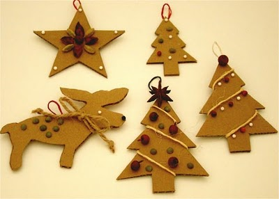 cardboard dry goods ornaments