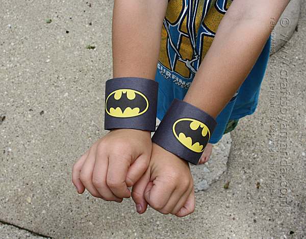 Batman Cardboard Tube Wrist Cuffs