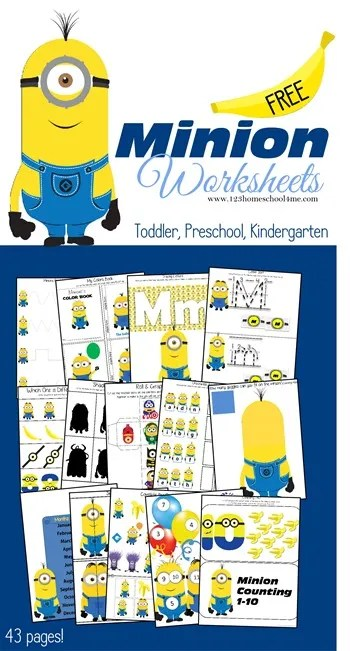Minion Worksheets for Kids Toddler Preschool Kindergarten_thumb[2]