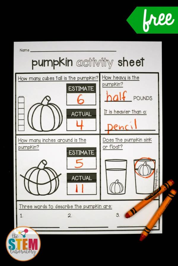 pumpkin STEM activities printable