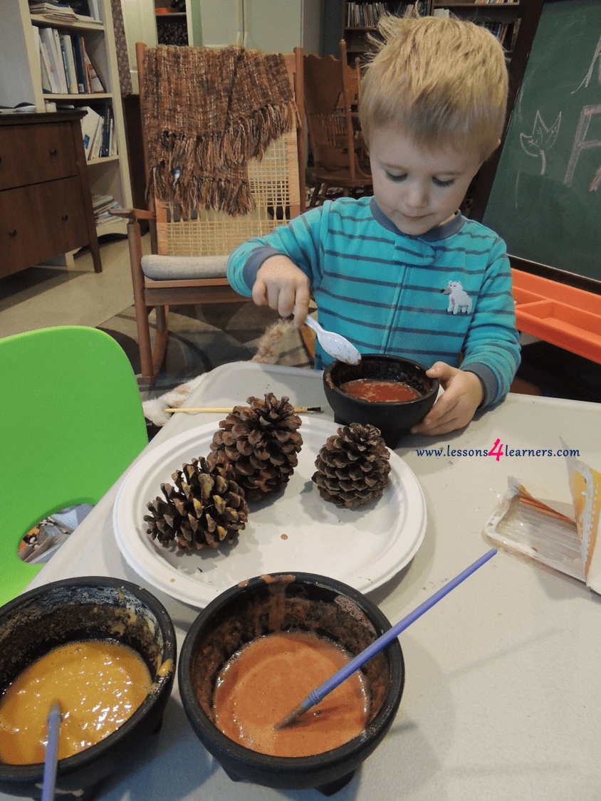 Infant Toddler Lesson Plan Themes Pinecone Painting With Spice Paints Lessons4learners