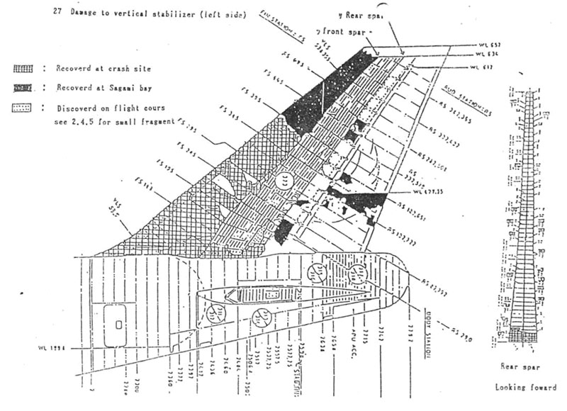 Reconstruction diagrams from the accident report showing details of