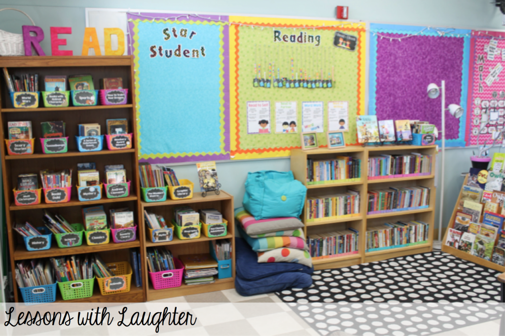 Classroom Bookcase Ideas ~ Classroom library organization lessons with laughter
