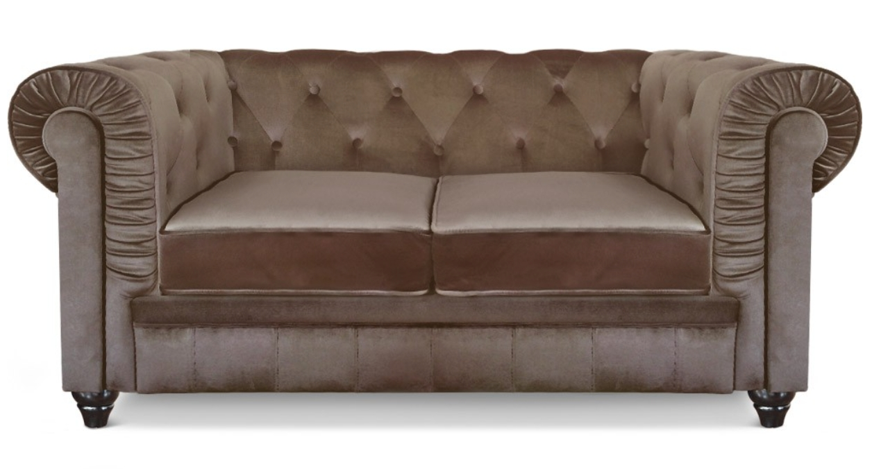 Chesterfield Velours Canapé Chesterfield 2 Places Velours Taupe British
