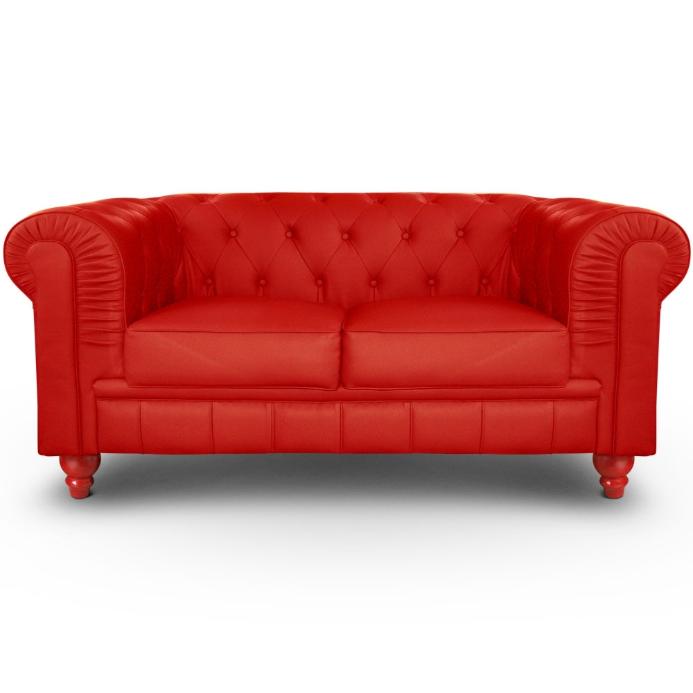 Canapé En Cuir Rouge Canapé Chesterfield 2 Places Imitation Cuir Rouge British