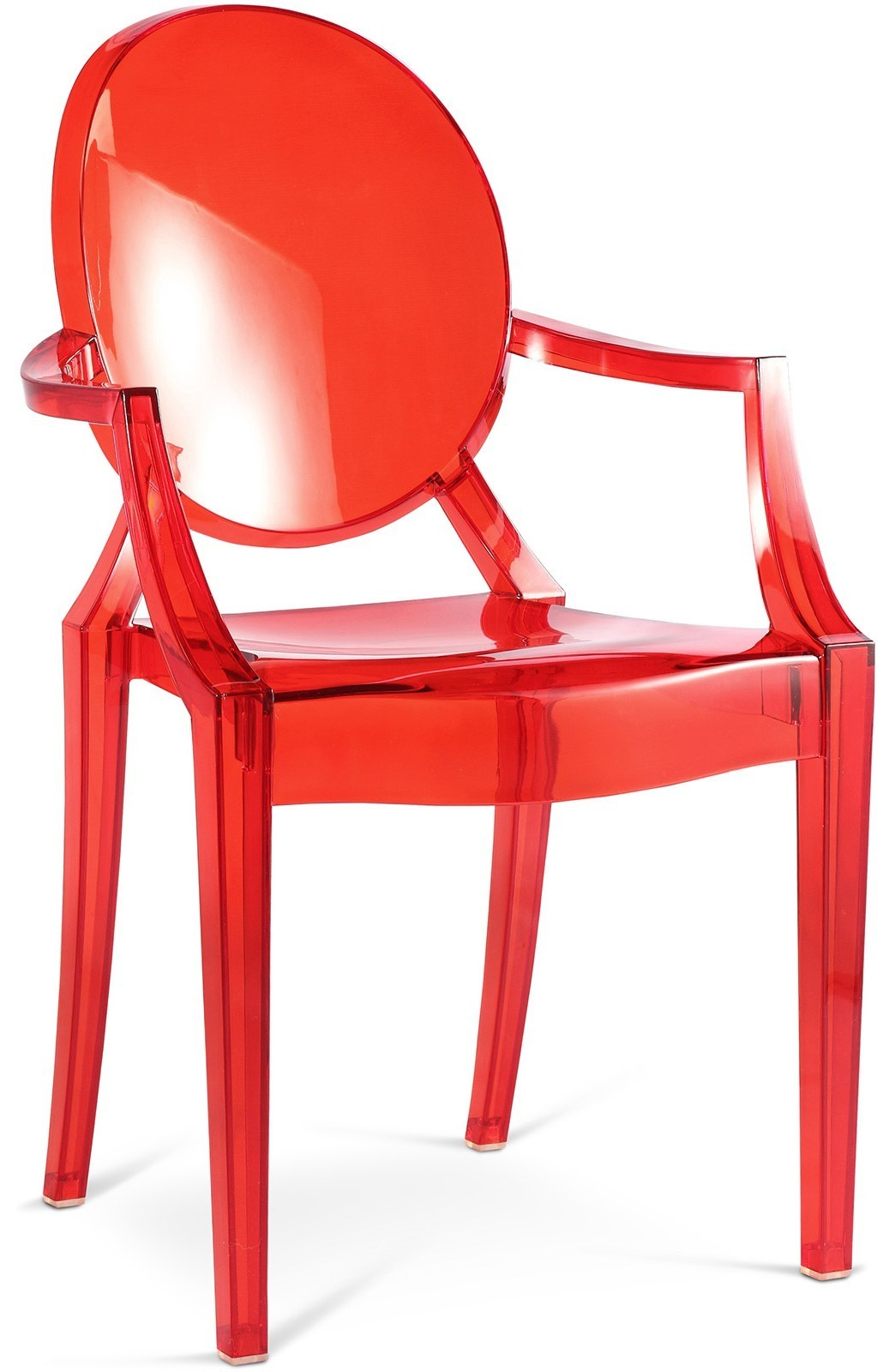 Chaises En Polycarbonate Chaise Polycarbonate Transparent Rouge Inspiré Louis Ghost Lot De 2