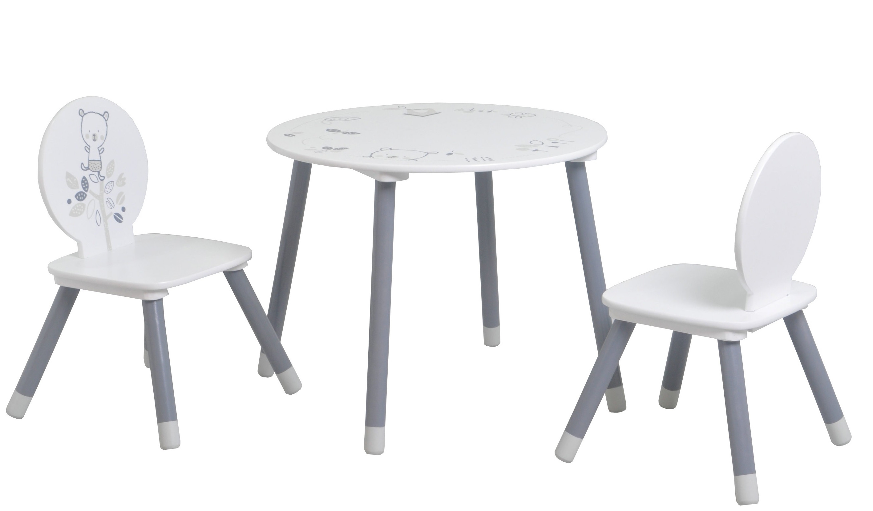 Table 2 Chaises Ensemble Table Ronde Et 2 Chaises Blanc Et Gris Bear
