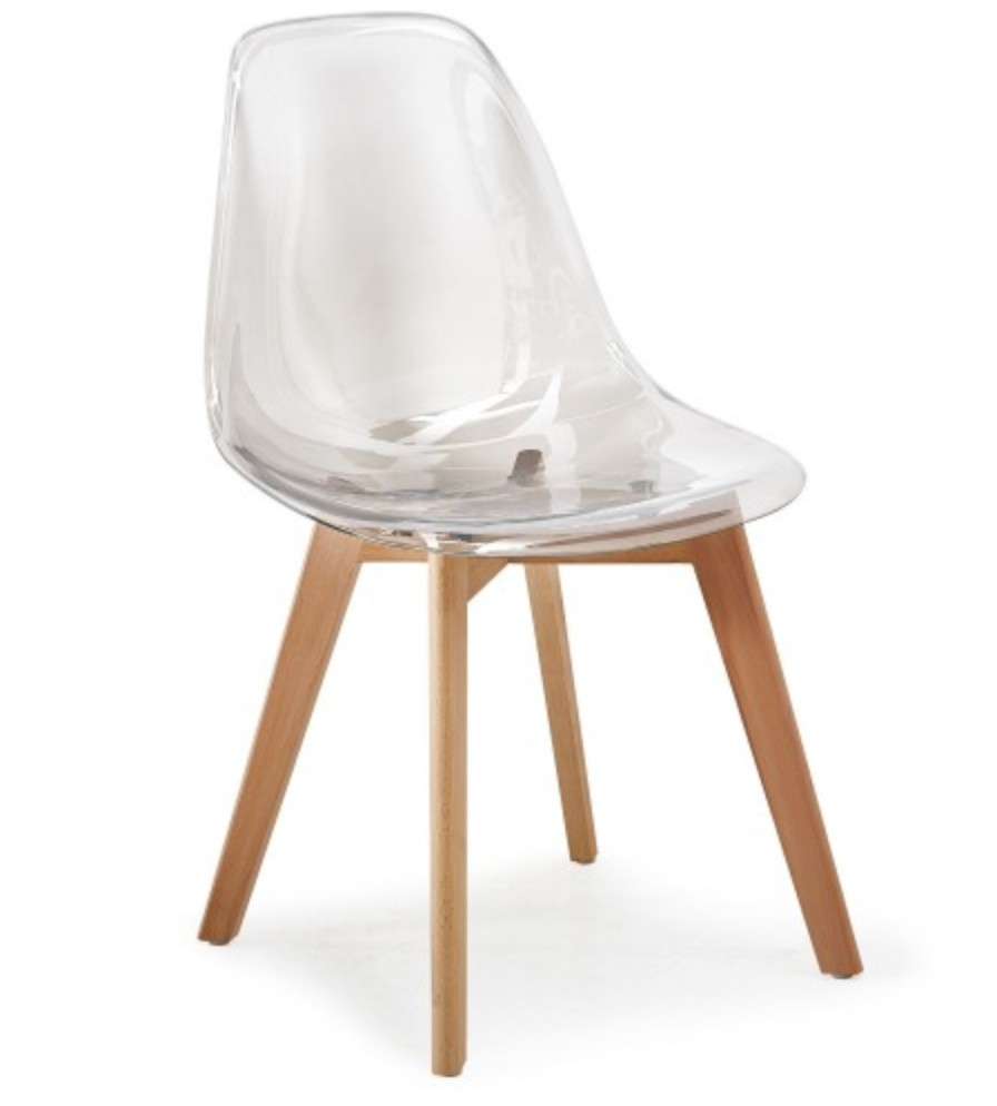 Lot 4 Chaises Transparentes Chaise Scandinave Plexiglass Transparent Et Naturel Oxy Lot De 4