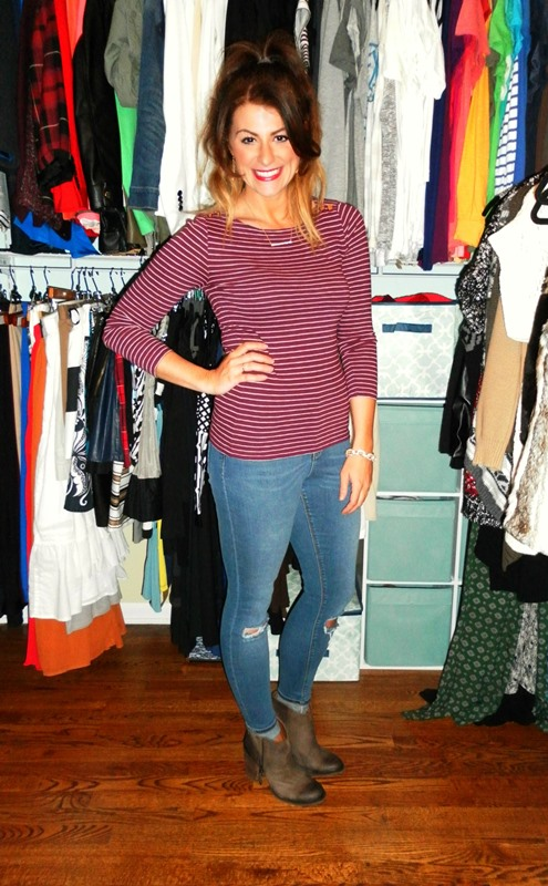 jcrew striped tee, asos ripped knee jeans, shoemint bailey booties
