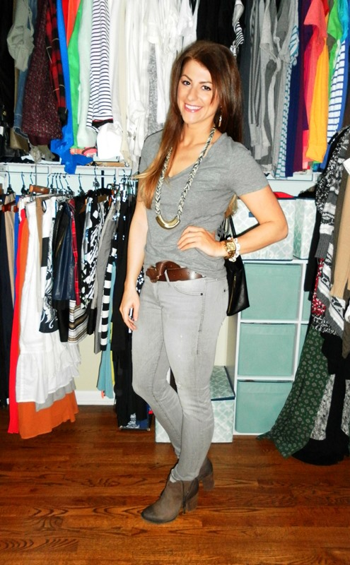 gray t-shirt, gray jeans, brown Shoemint booties, brown Linea Pelle belt