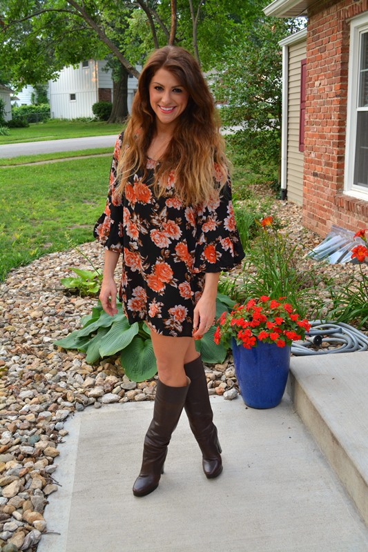 swell rose dress, michael kors boots, ashley from lsr