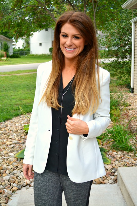 white theory blazer, express portofino blouse, ashley from lsr