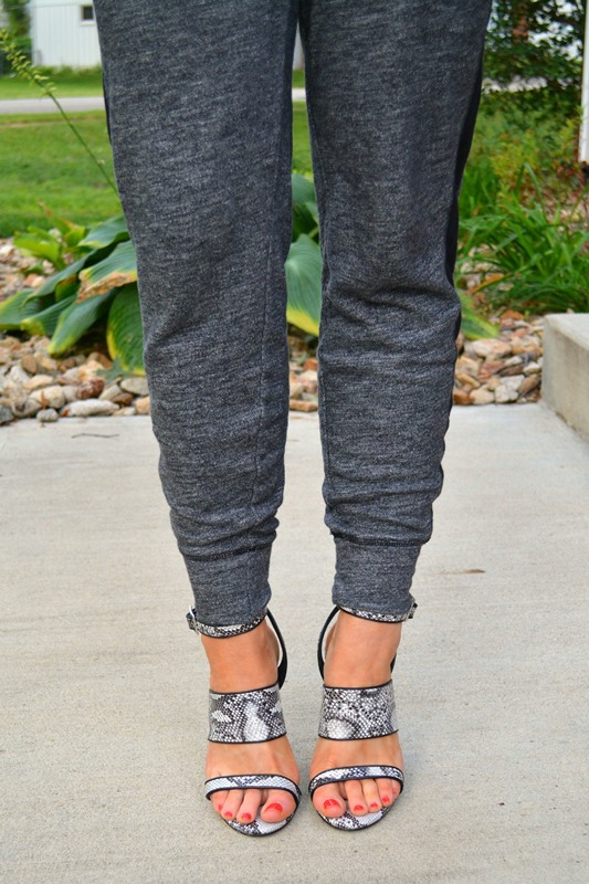 old navy tuxedo sweats, topshop sandals, ashley from lsr