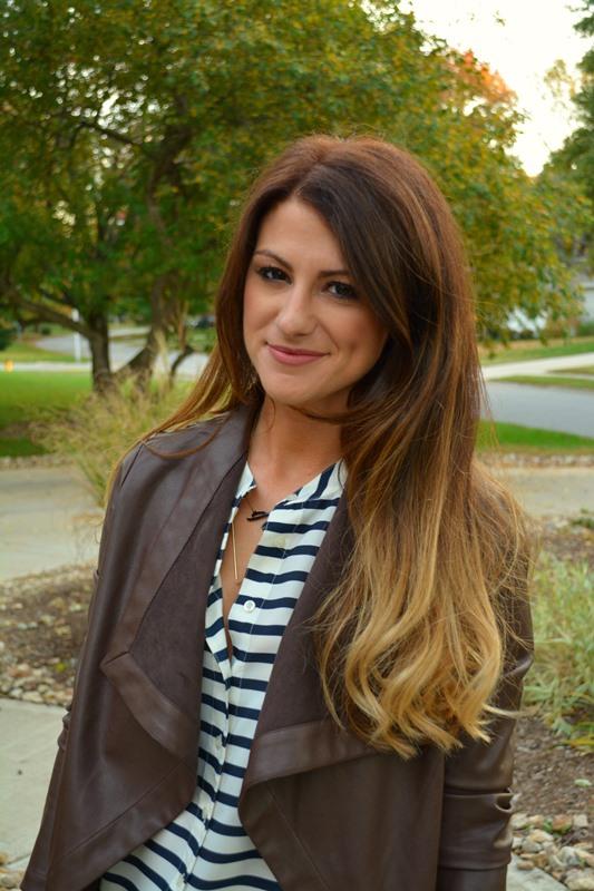 bb dakota leather jacket,  jcrew striped blouse, ashley from lsr