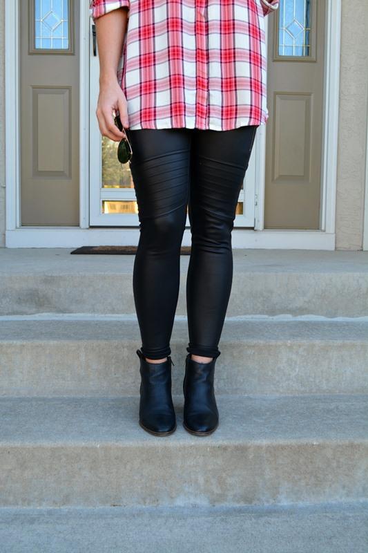 express plaid shirt, scuba leggings, madewell billie boots, , ashley from lsr