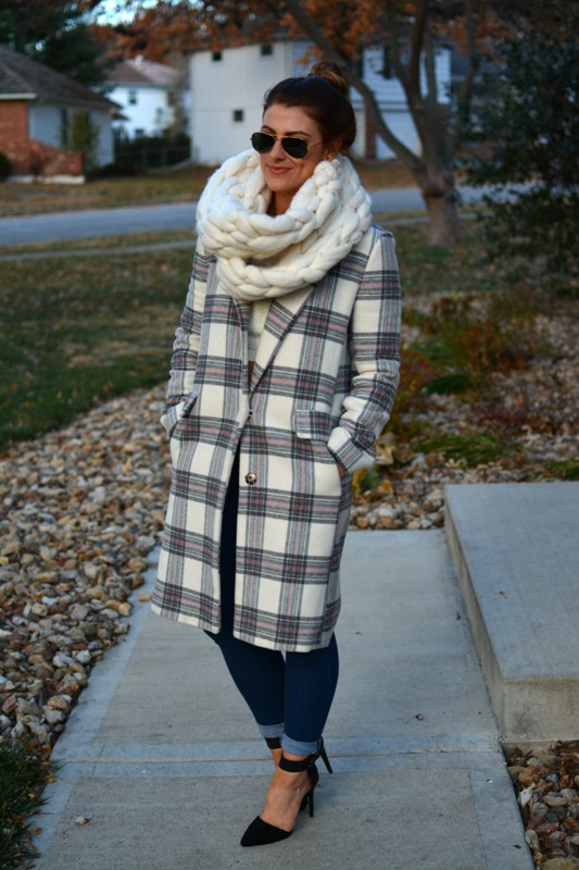 ashley from lsr, asos plaid coat, black ankle pumps, connection knits scarf