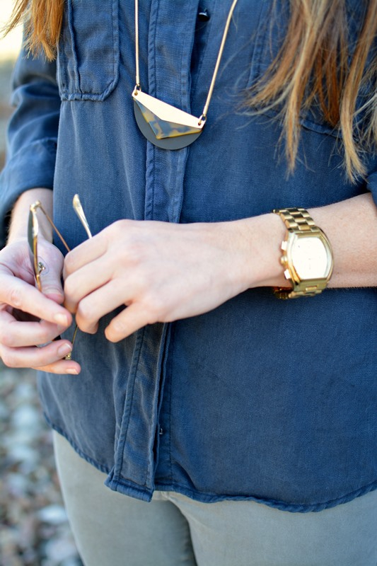 ashley from lsr, madewell necklace, michael kors sport watch
