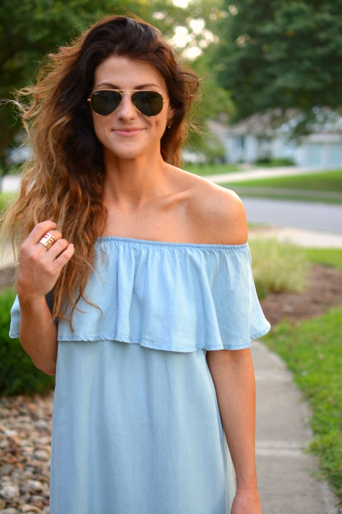 ashley from lsr in a blue ruffled chambray dress