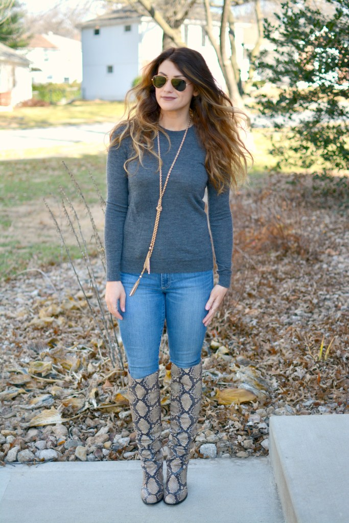 Ashley from LSR in a gray sweater and Sam Edelman Rylan boots