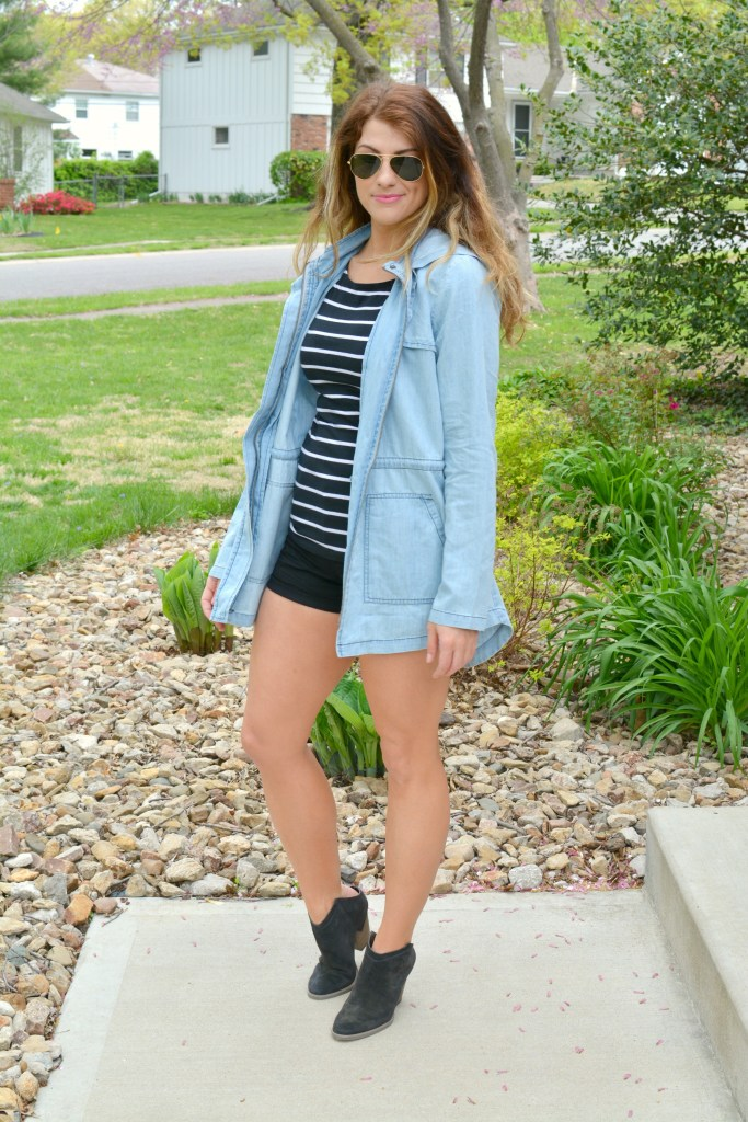 Ashley from LSR in a BB Dakota chambray jacket, black stripes, and Dolce Vita boots