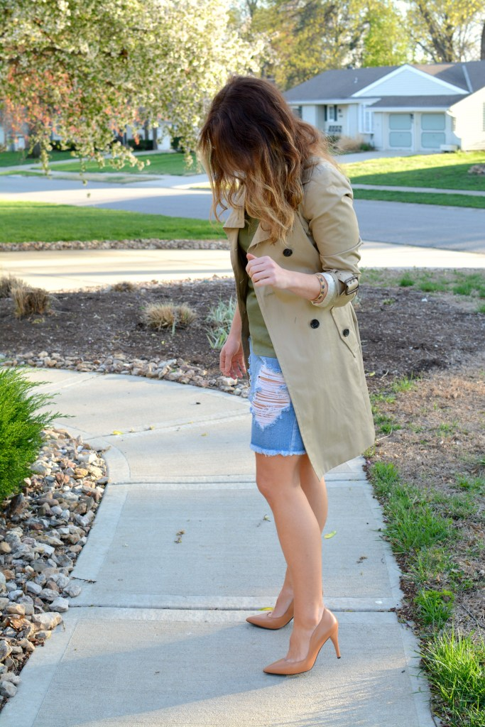 Ashley from LSR in a classic trench coat and a destroyed denim pencil skirt