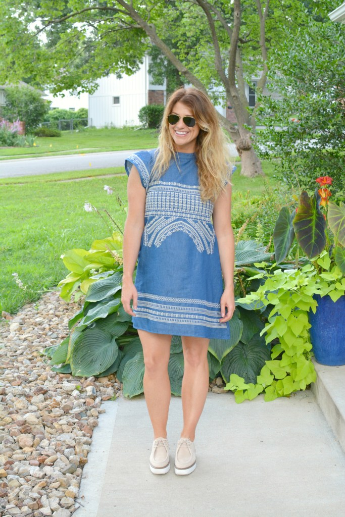 Ashley from LSR in an embroidered chambray dress from Chicwish and platform brogues