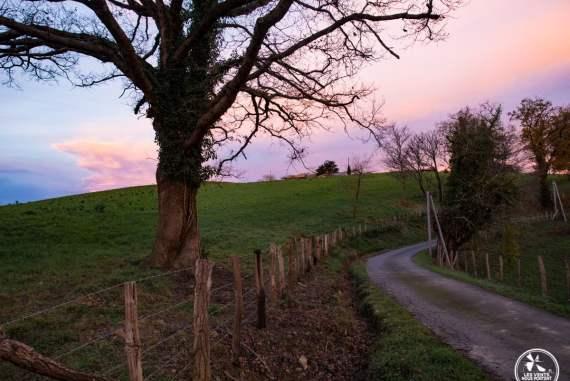 sur les routes de campagne au dessus de la bastide clairence au pays basque